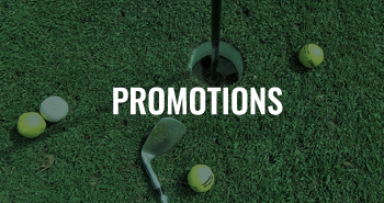 A golf club and hole with a text overlay that reads Promotions.
